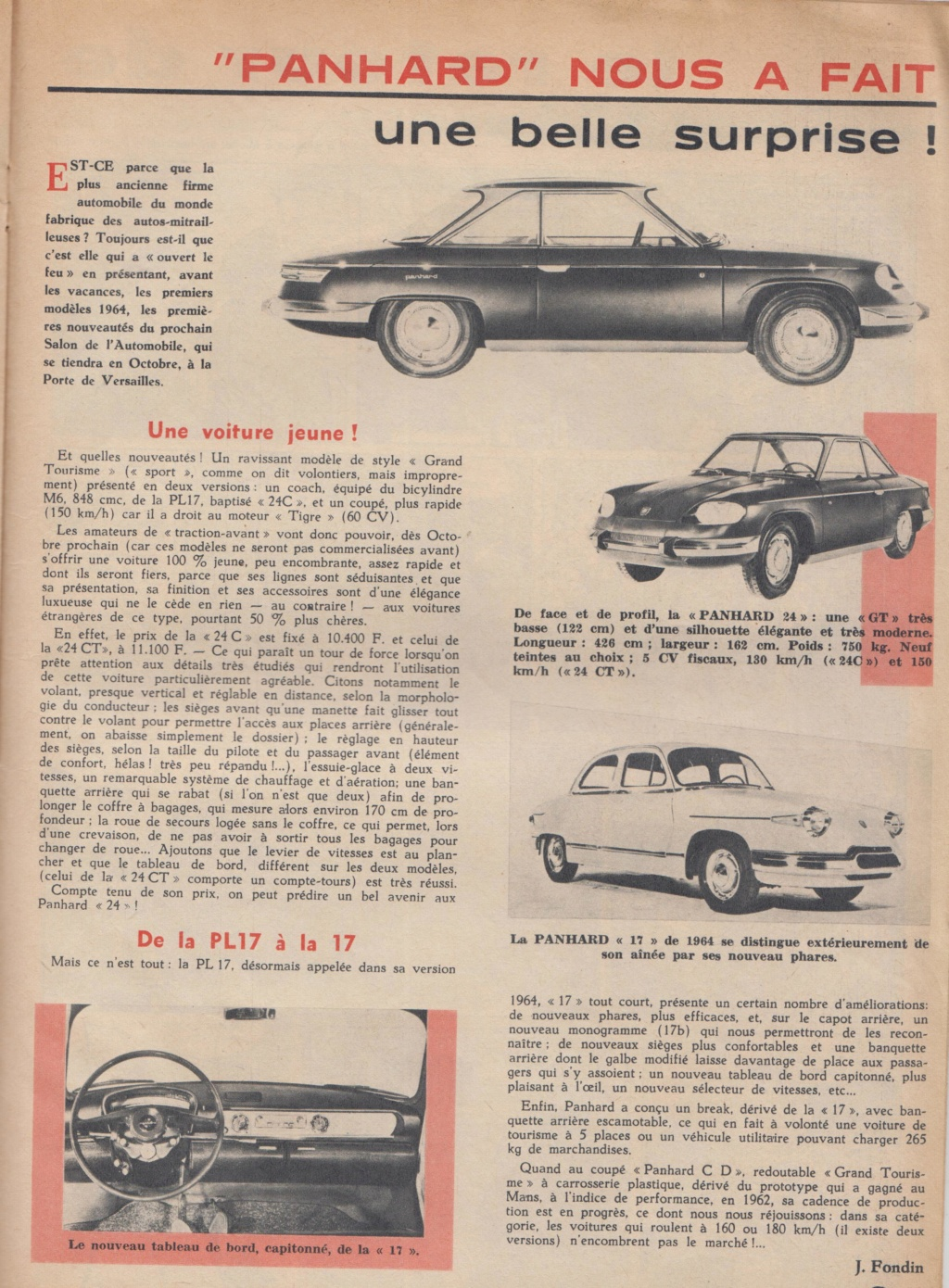 Le Journal de Tintin - de 1959 à 1964 les articles sur l'automobile et la moto Panhar10