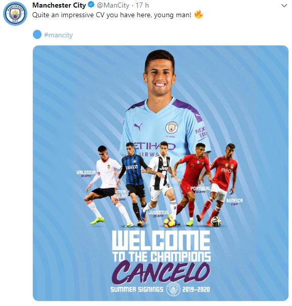 Juve-City, ufficializzato lo scambio Danilo-Cancelo Cattur19