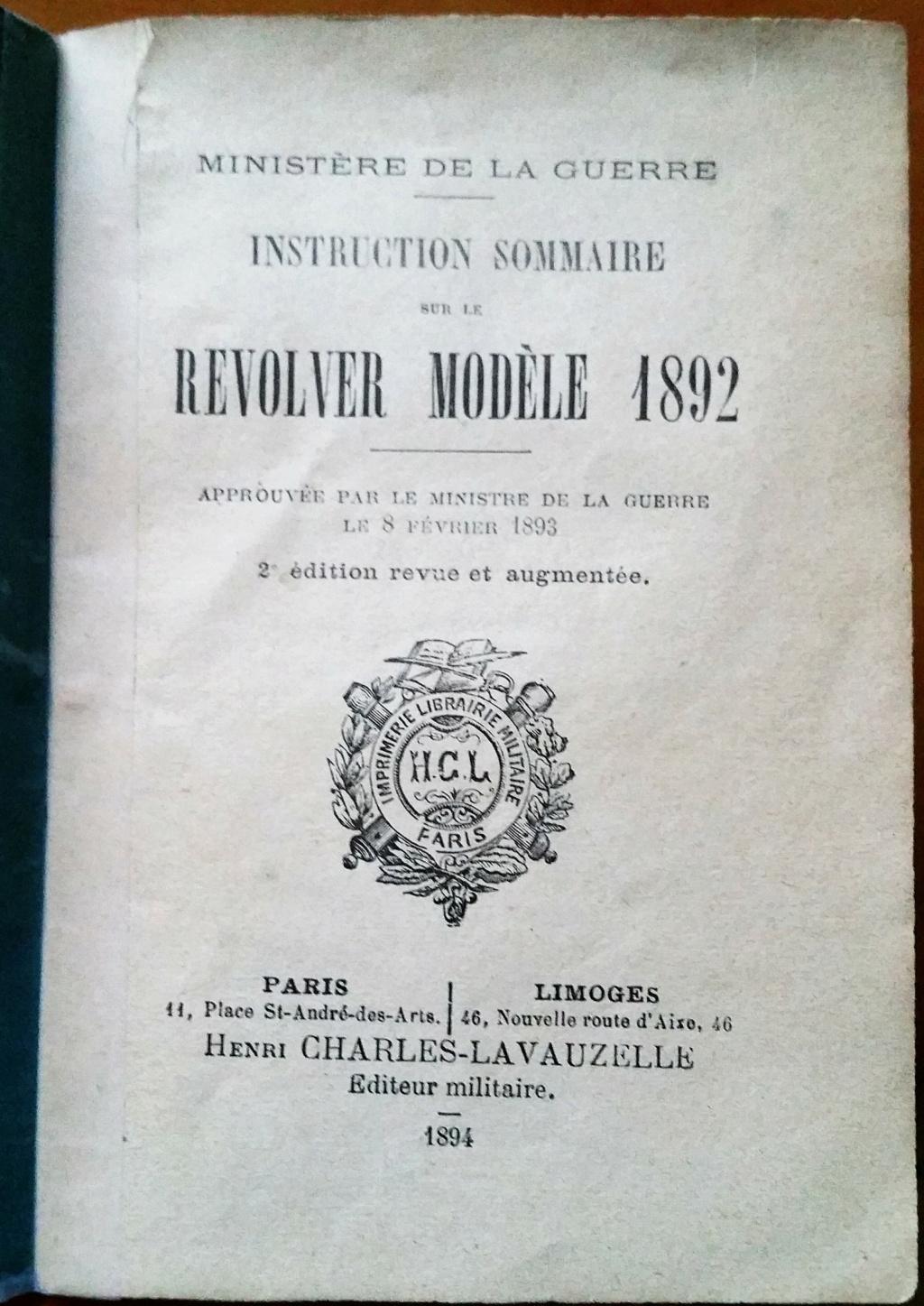 livret d'instruction FM chauchat carabine 1890 et revolver 1892 20201018