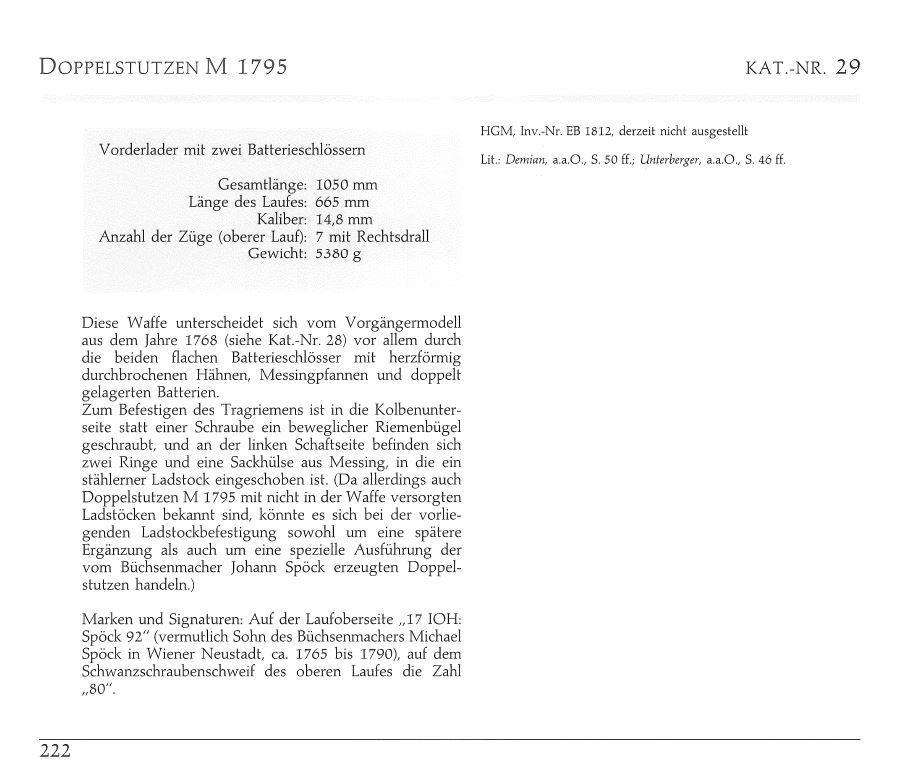 Fusil Double Autrichienne - Doppelstutzen 1768 130