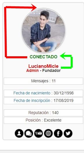 Cambiar imagen conectado o desconectado por texto en los perfiles de los mensajes Muestr11