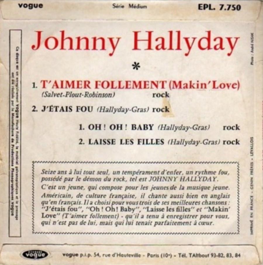 T'aimer follement ( EP 45 TOURS )( TOUTES LES EDITIONS )( 1960 - 2019 ) 1960_071
