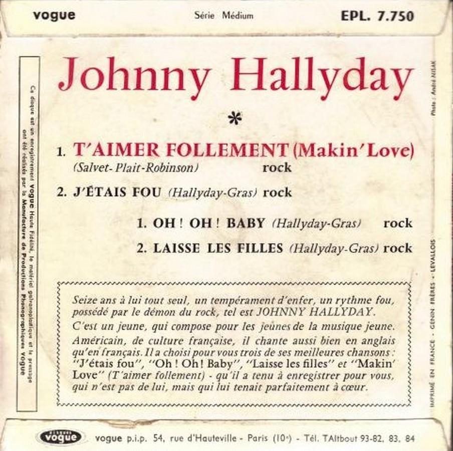 T'aimer follement ( EP 45 TOURS )( TOUTES LES EDITIONS )( 1960 - 2019 ) 1960_083