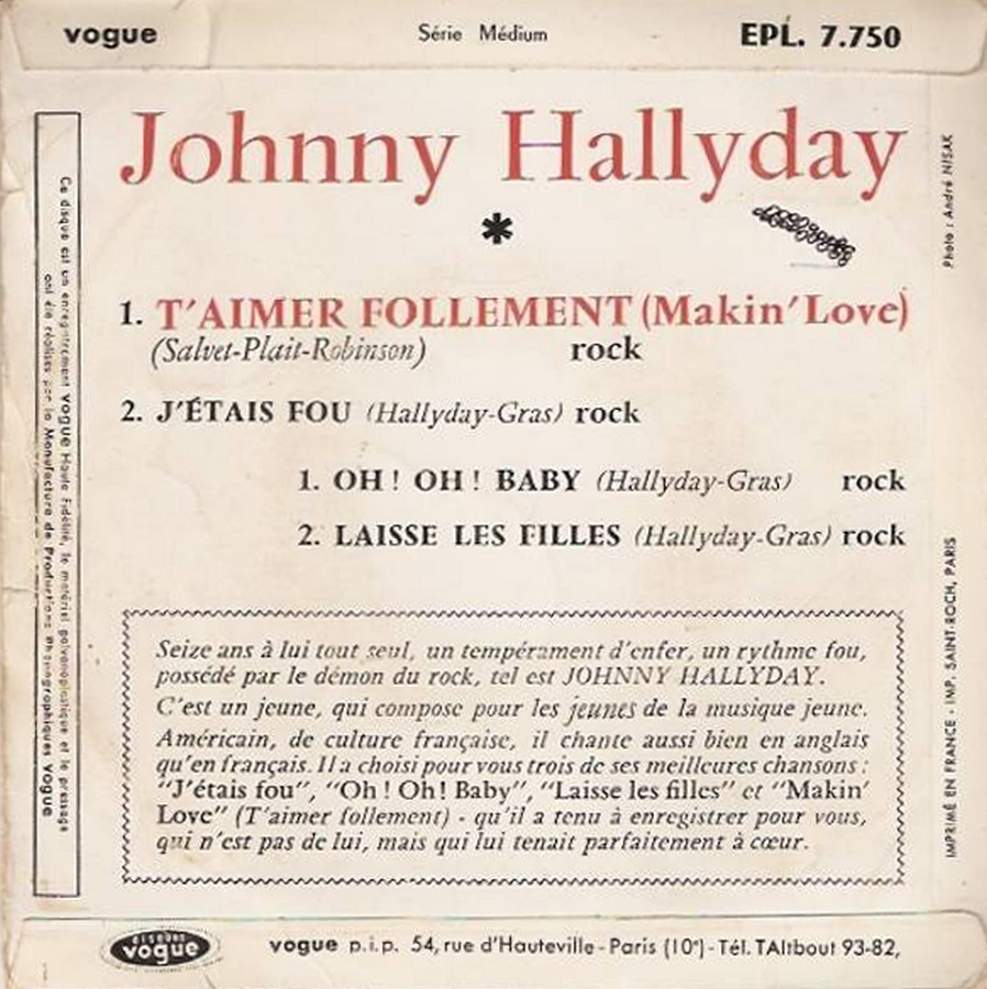 T'aimer follement ( EP 45 TOURS )( TOUTES LES EDITIONS )( 1960 - 2019 ) 1960_092