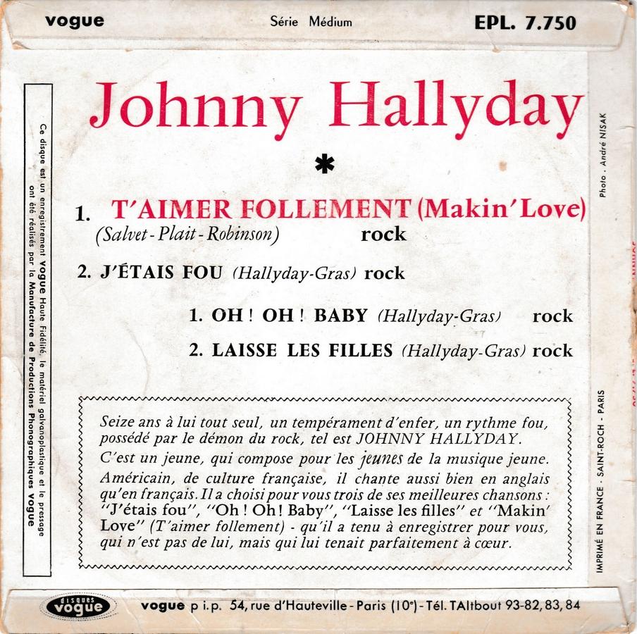 T'aimer follement ( EP 45 TOURS )( TOUTES LES EDITIONS )( 1960 - 2019 ) 1960_096