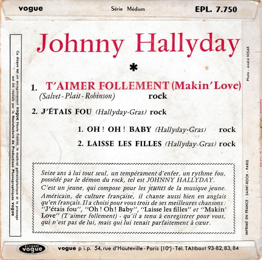 T'aimer follement ( EP 45 TOURS )( TOUTES LES EDITIONS )( 1960 - 2019 ) 1960_100