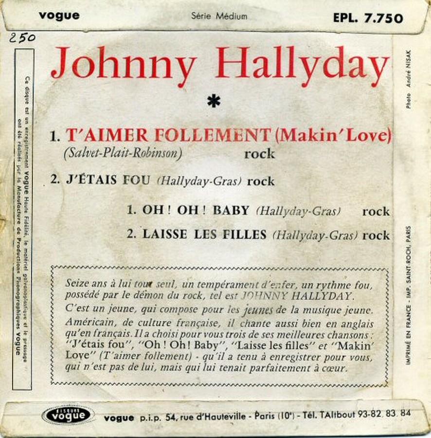 T'aimer follement ( EP 45 TOURS )( TOUTES LES EDITIONS )( 1960 - 2019 ) 1960_104