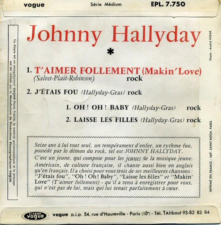 T'aimer follement ( EP 45 TOURS )( TOUTES LES EDITIONS )( 1960 - 2019 ) 1960_108