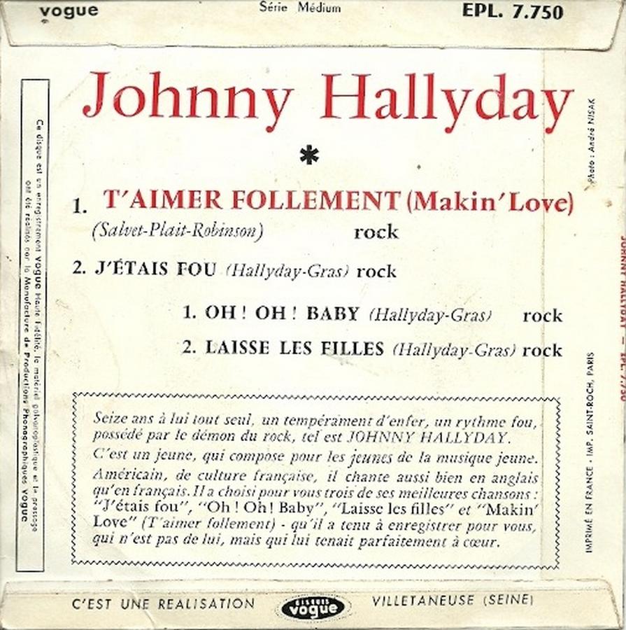 T'aimer follement ( EP 45 TOURS )( TOUTES LES EDITIONS )( 1960 - 2019 ) 1960_112