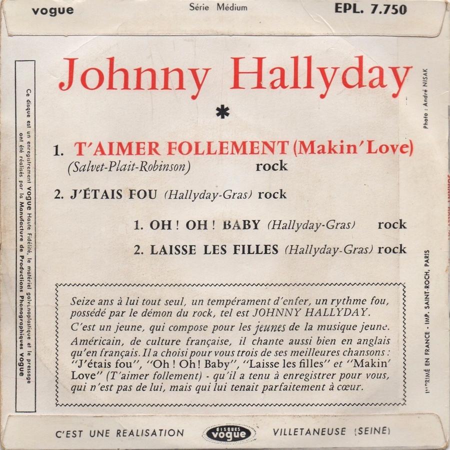 T'aimer follement ( EP 45 TOURS )( TOUTES LES EDITIONS )( 1960 - 2019 ) 1960_116