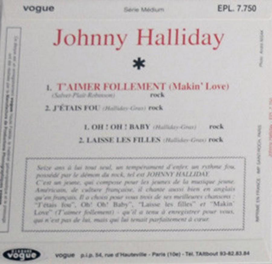 T'aimer follement ( EP 45 TOURS )( TOUTES LES EDITIONS )( 1960 - 2019 ) 1960_160