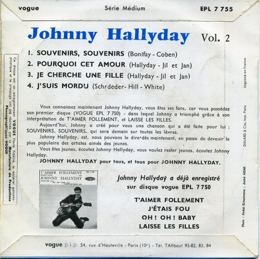 Souvenirs souvenirs ( EP 45 TOURS )( TOUTES LES EDITIONS )( 1960 - 2019 ) 1960_165
