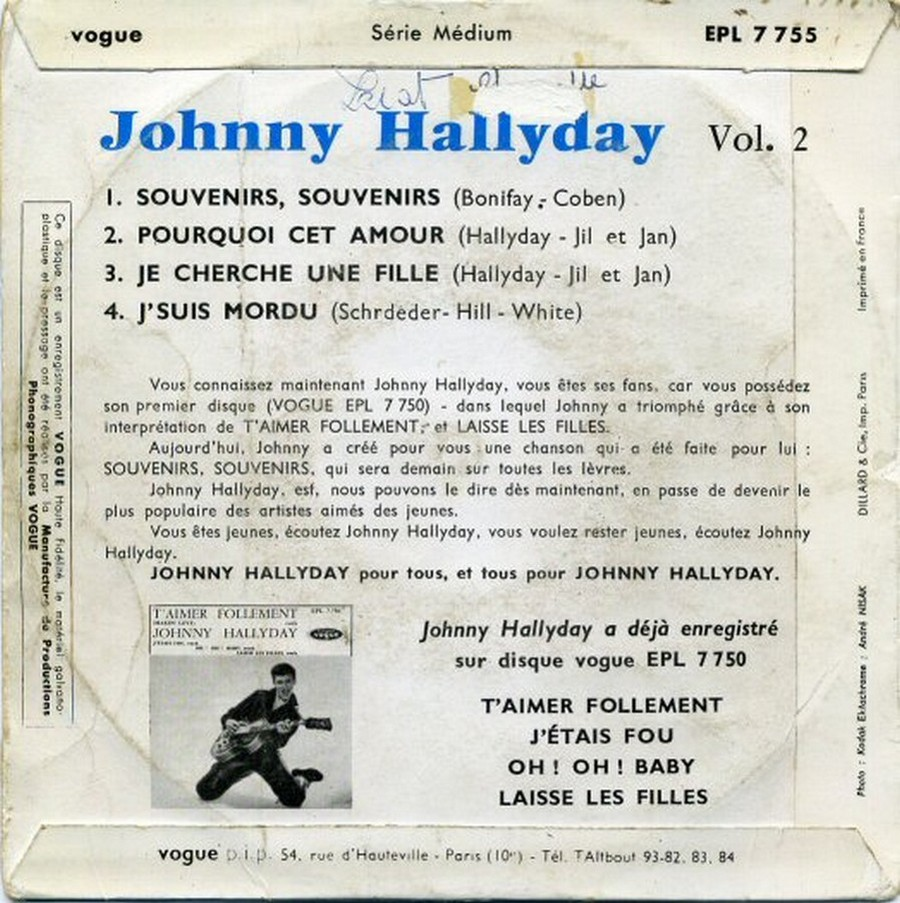 Souvenirs souvenirs ( EP 45 TOURS )( TOUTES LES EDITIONS )( 1960 - 2019 ) 1960_169