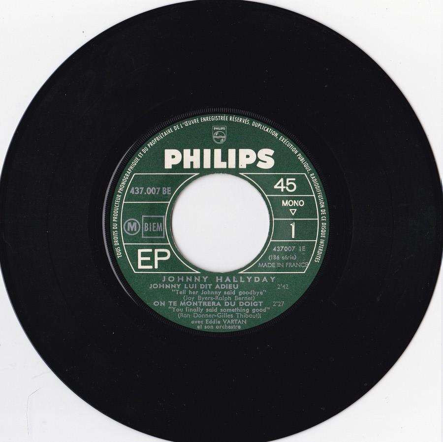 Johnny luit dit adieu ( EP 45 TOURS )( TOUTES LES EDITIONS )( 1965 - 2009 ) 1965_220