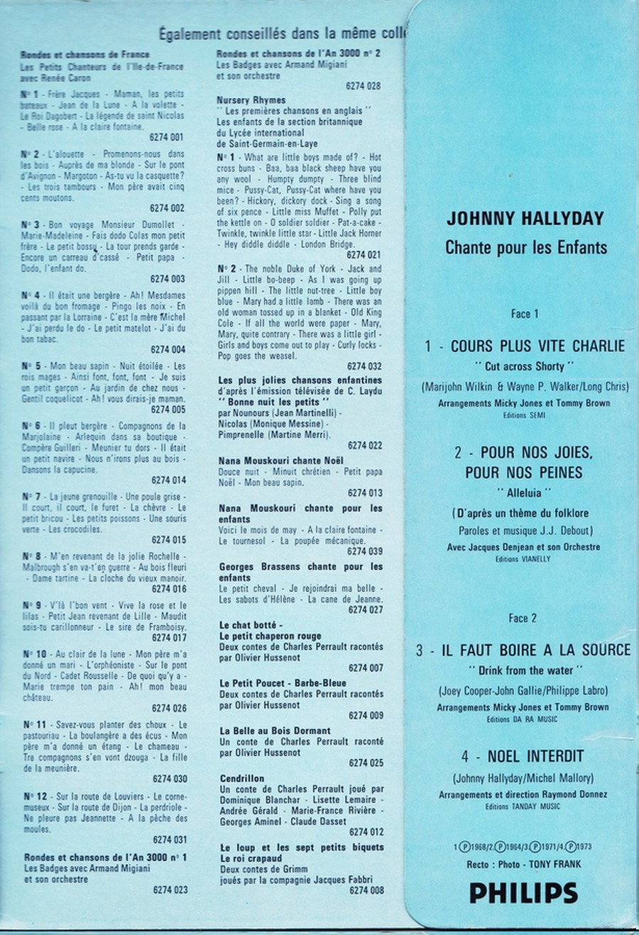 JOHNNY CHANTE POUR LES ENFANTS ( SP  45 tours )( 1973 ) 1973_266