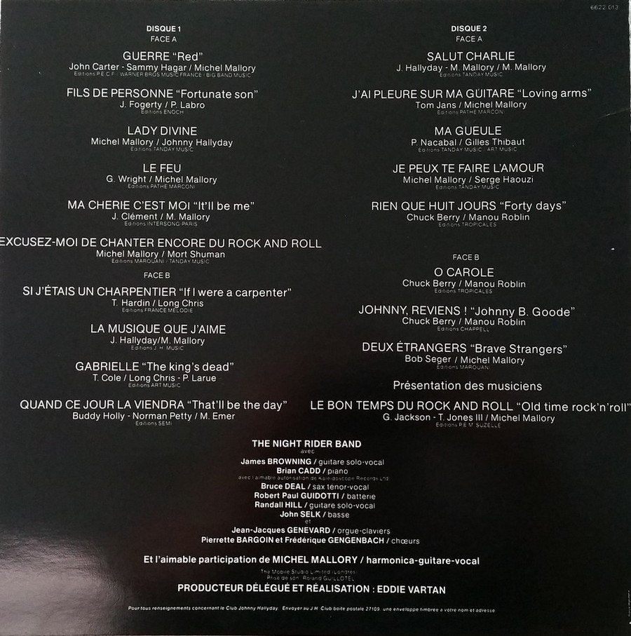 LES CONCERTS DE JOHNNY 'TOURNEE NIGHT RIDER BAND TOUR 1981' 1981_332