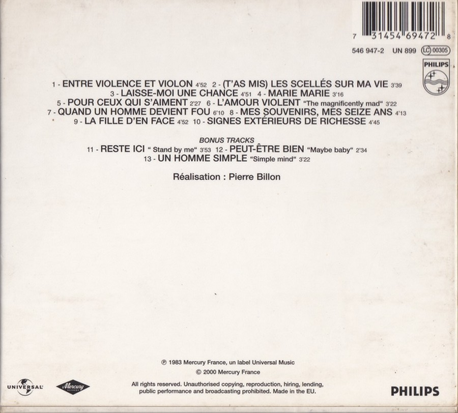 COLLECTION DES 40 ALBUMS CD ( UNIVERSAL )( 2000 ) 2EME PARTIE 1983_e26