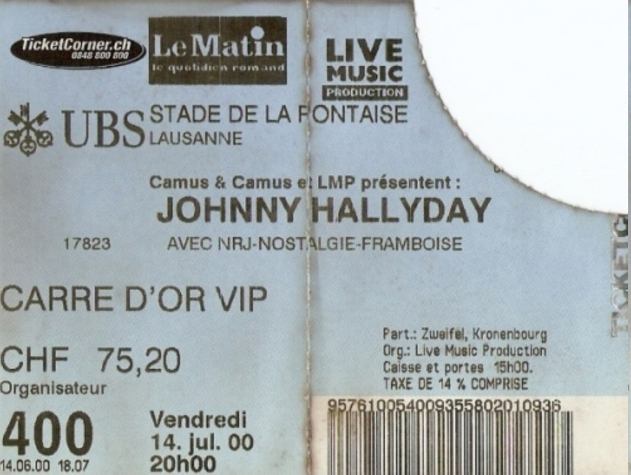 LES CONCERTS DE JOHNNY 'LAUSANNE, SUISSE 2000' 20000710