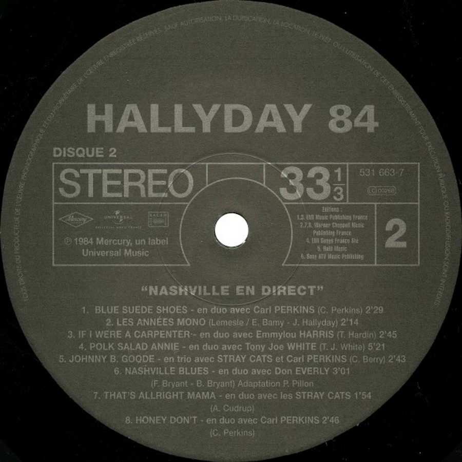 HALLYDAY 84 'NAHSVILLE'  ( 33 TOURS 30CM )( TOUTES LES EDITIONS )( 1984 - 2021 ) 2009-019