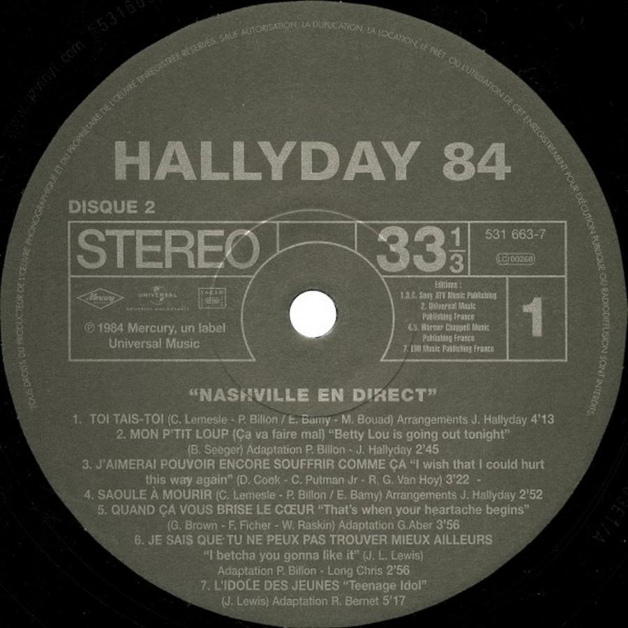 HALLYDAY 84 'NAHSVILLE'  ( 33 TOURS 30CM )( TOUTES LES EDITIONS )( 1984 - 2021 ) 2009-020