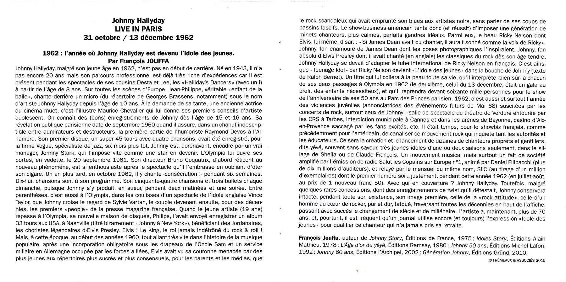 LIVE IN PARIS ( 31 OCTOBRE / 13 DECEMBRE 1962 )( CD )( 2015 ) 2015_l42