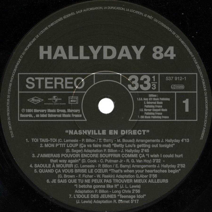 HALLYDAY 84 'NAHSVILLE'  ( 33 TOURS 30CM )( TOUTES LES EDITIONS )( 1984 - 2021 ) 2017_h12