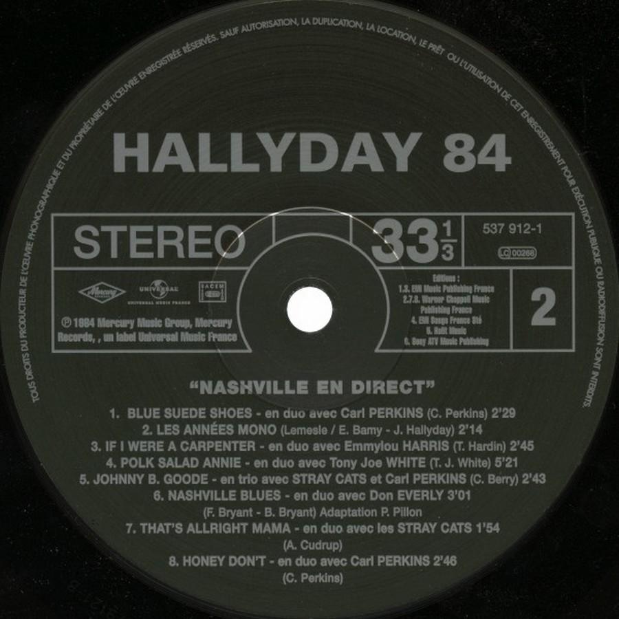 HALLYDAY 84 'NAHSVILLE'  ( 33 TOURS 30CM )( TOUTES LES EDITIONS )( 1984 - 2021 ) 2017_h13