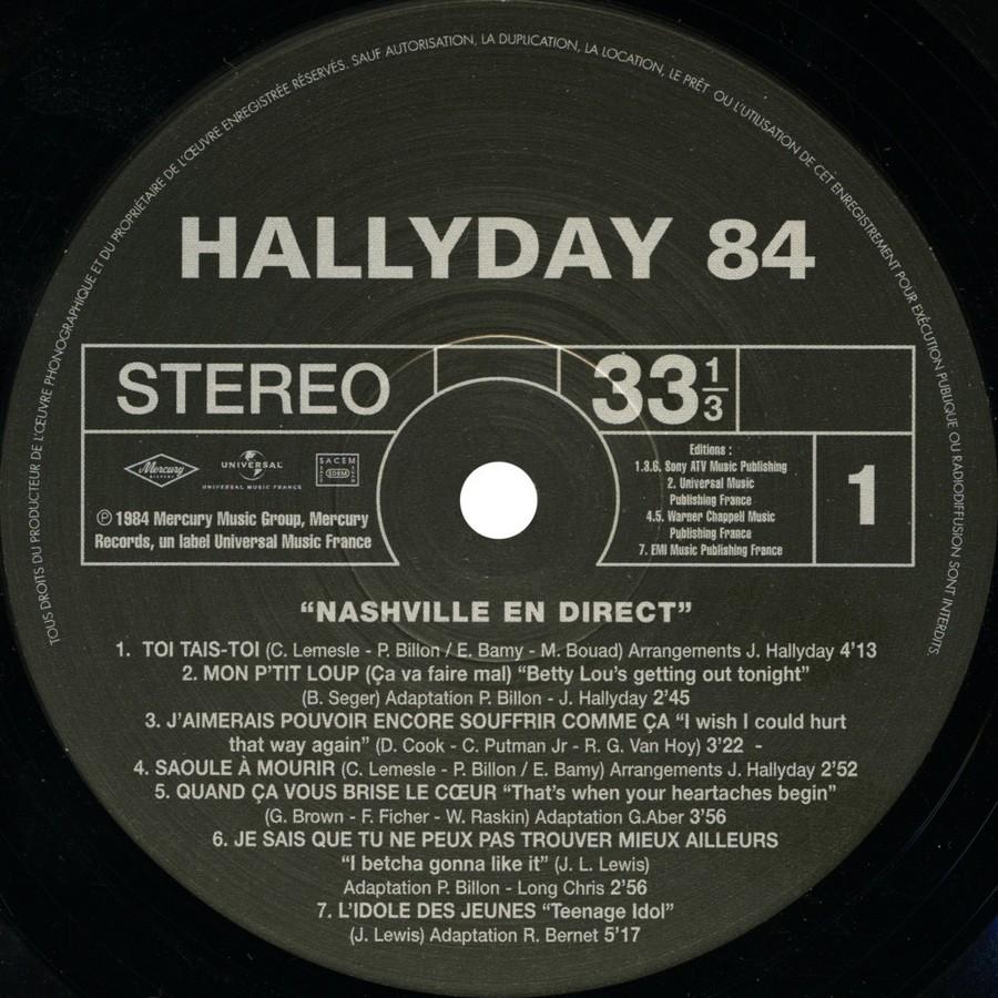 HALLYDAY 84 'NAHSVILLE'  ( 33 TOURS 30CM )( TOUTES LES EDITIONS )( 1984 - 2021 ) 2021_n18