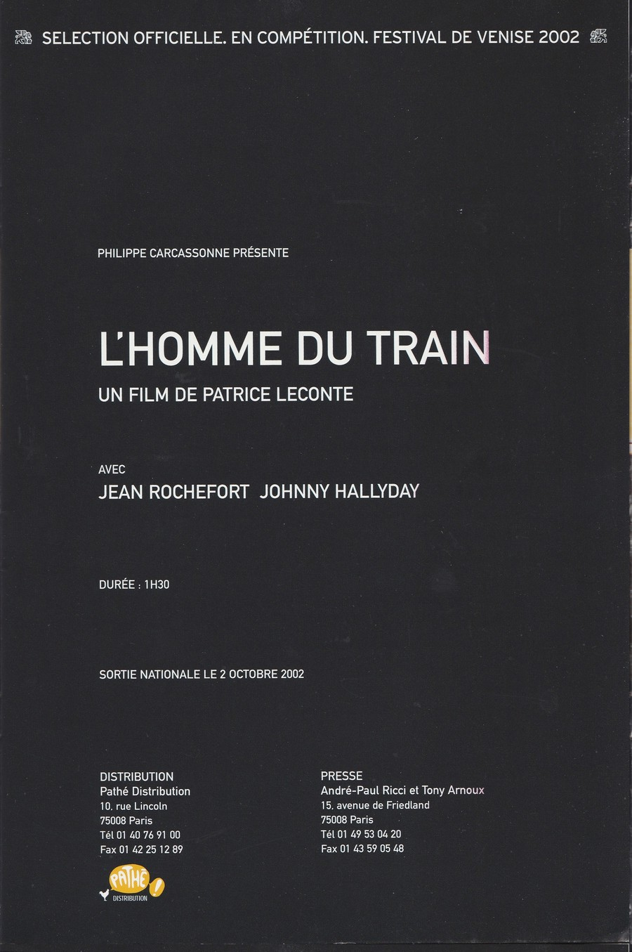 LES FILMS DE JOHNNY 'L'HOMME DU TRAIN' 2002 Img_2736
