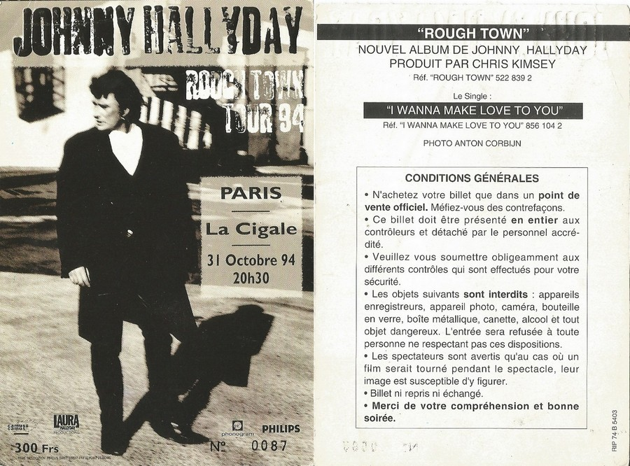 LES CONCERTS DE JOHNNY 'LA CIGALE, PARIS 1994' Sans2642