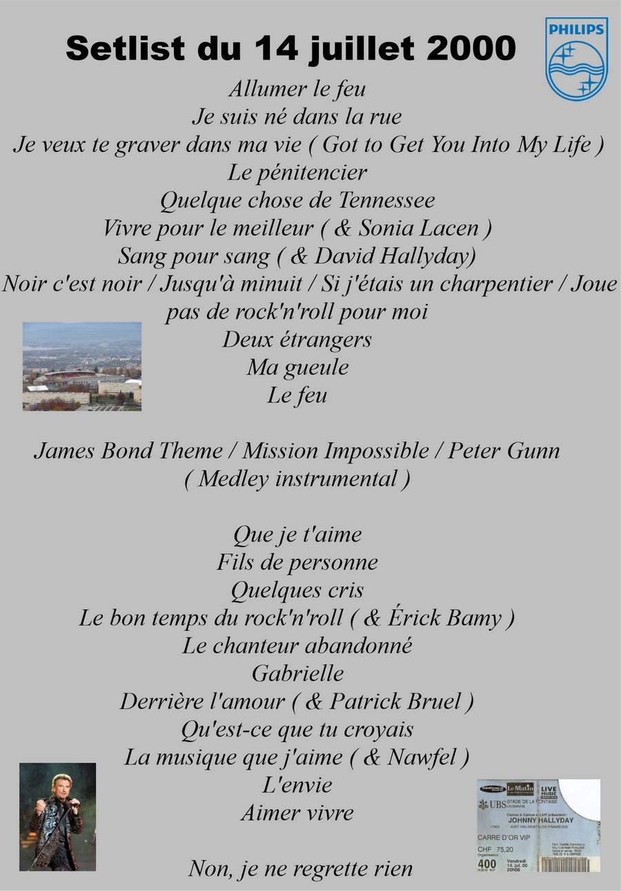 LES CONCERTS DE JOHNNY 'LAUSANNE, SUISSE 2000' Setli137