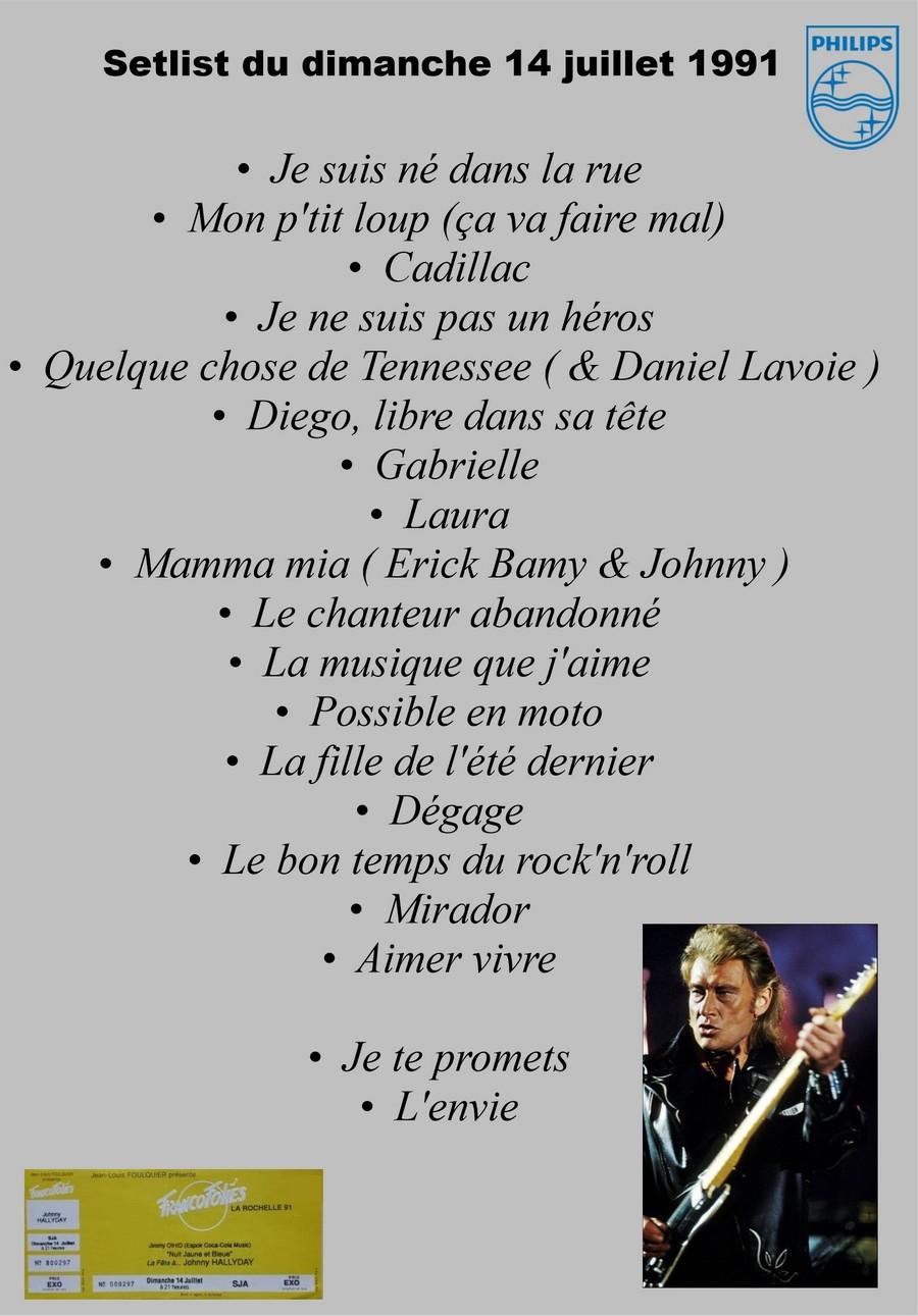 LES CONCERTS DE JOHNNY 'LES FRANCOFOLIES DE LA ROCHELLE 88, 91, 93, 96, 2015' Setli177