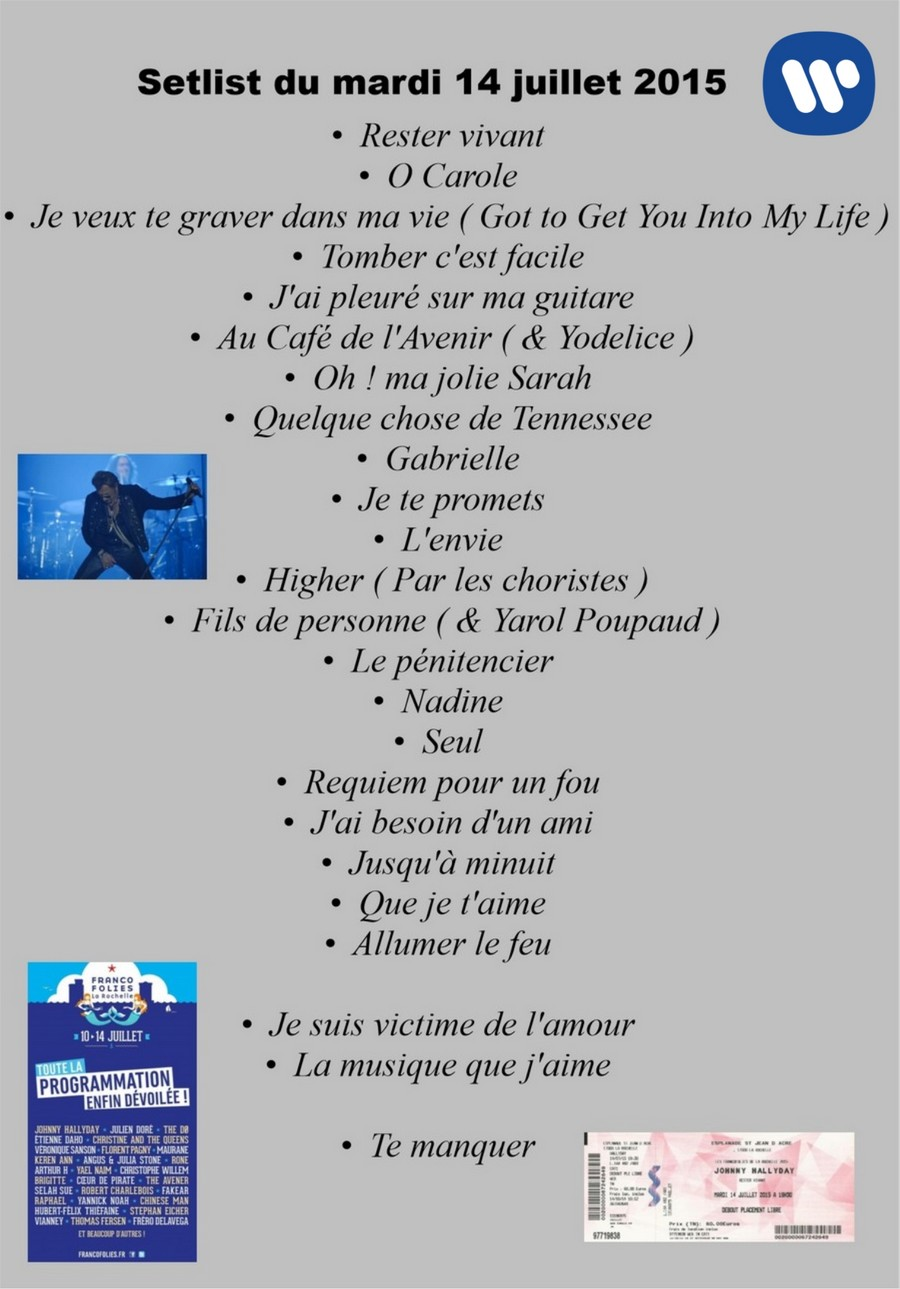 LES CONCERTS DE JOHNNY 'LES FRANCOFOLIES DE LA ROCHELLE 88, 91, 93, 96, 2015' Setli181