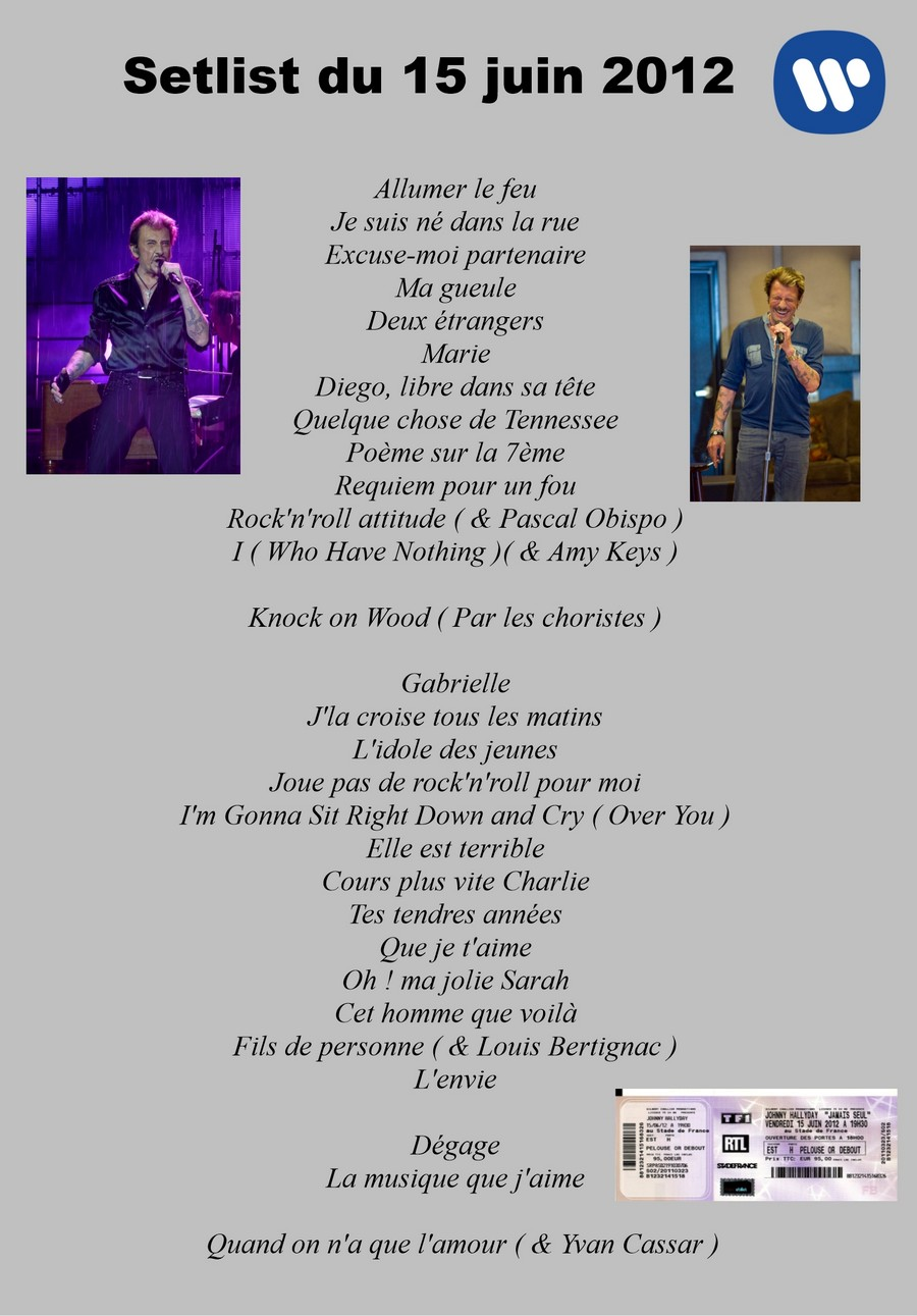 LES CONCERTS DE JOHNNY 'STADE DE FRANCE, SAINT-DENIS 2012' Setli242
