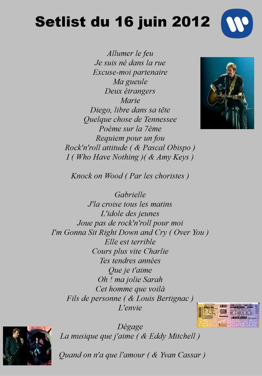 LES CONCERTS DE JOHNNY 'STADE DE FRANCE, SAINT-DENIS 2012' Setli243