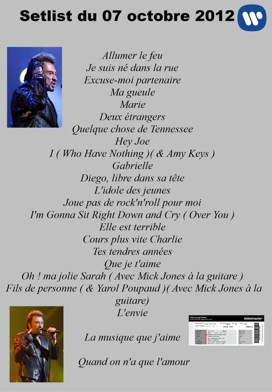 LES CONCERTS DE JOHNNY 'BEACON THEATRE, NEW YORK 2012' Setli300
