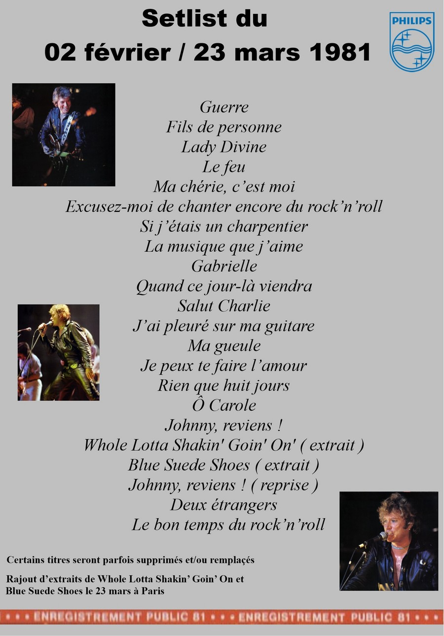 LES CONCERTS DE JOHNNY 'TOURNEE NIGHT RIDER BAND TOUR 1981' Setli322