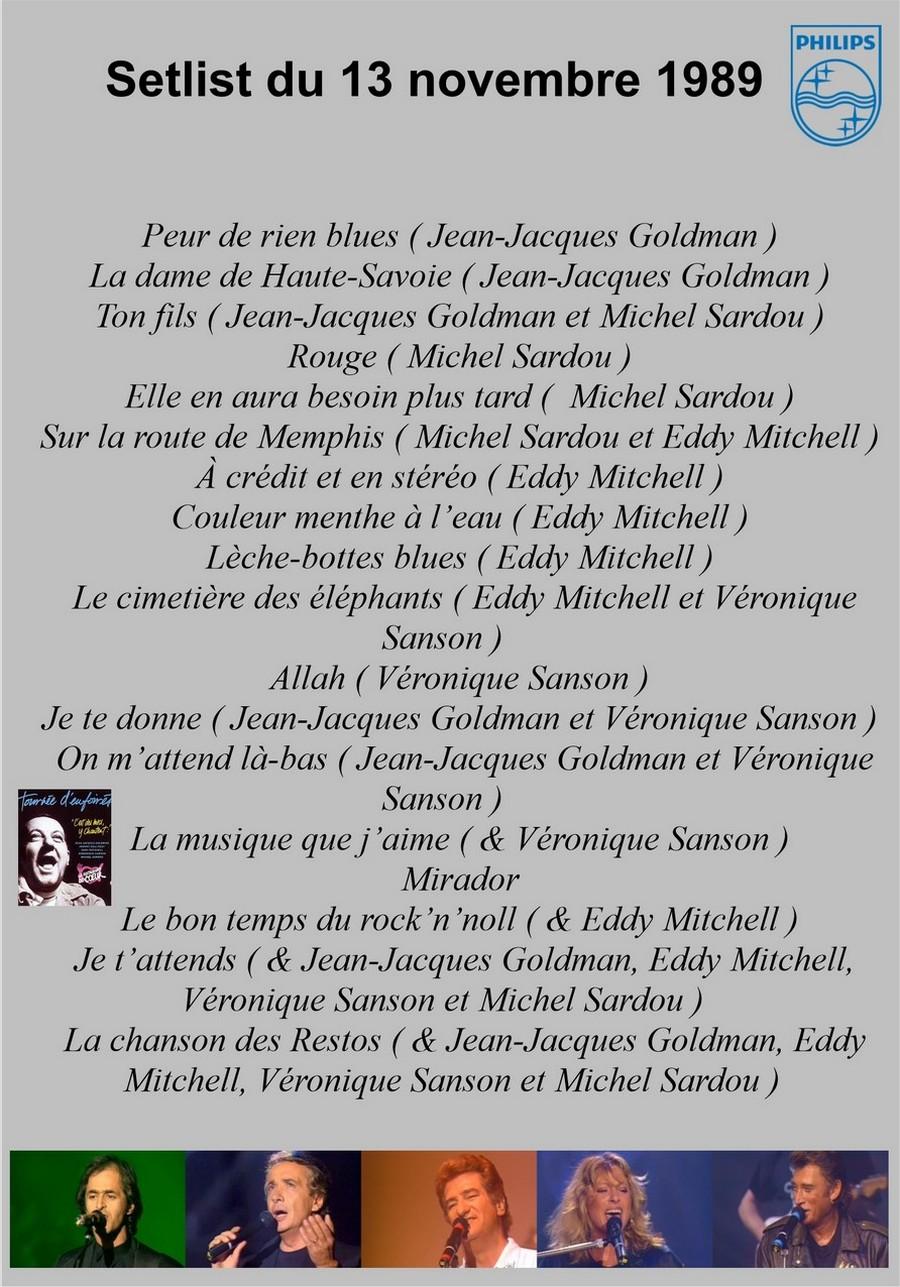 LES CONCERTS DE JOHNNY 'TOURNEE D'ENFOIRES, ZENITH 1989' Setlis56