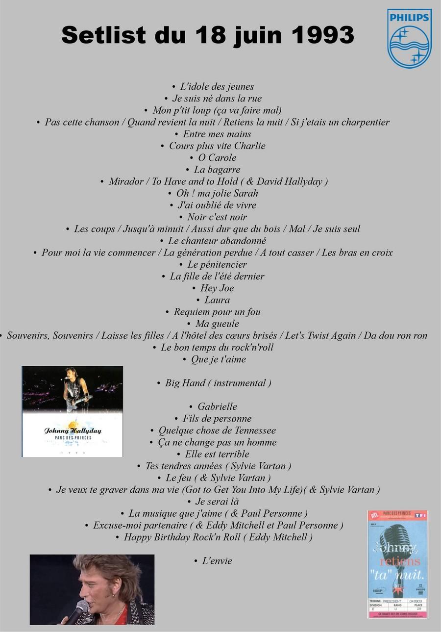 LES CONCERTS DE JOHNNY 'PARC DES PRINCES, PARIS 1993' Setlis74