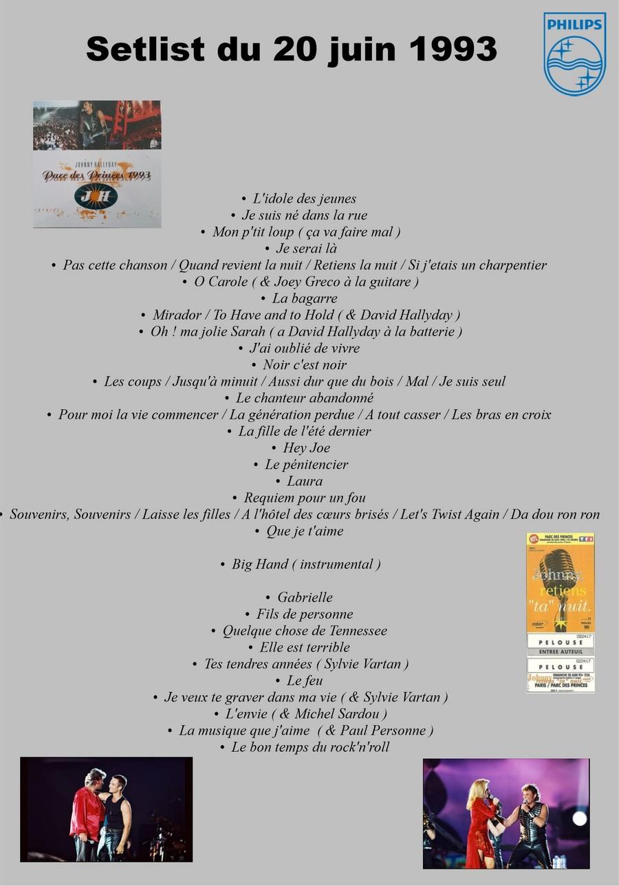 LES CONCERTS DE JOHNNY 'PARC DES PRINCES, PARIS 1993' Setlis76