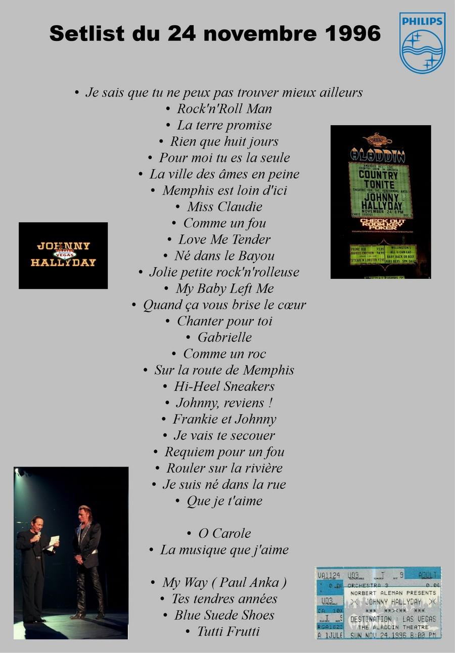 LES CONCERTS DE JOHNNY 'LAS VEGAS 1996' Setlis80