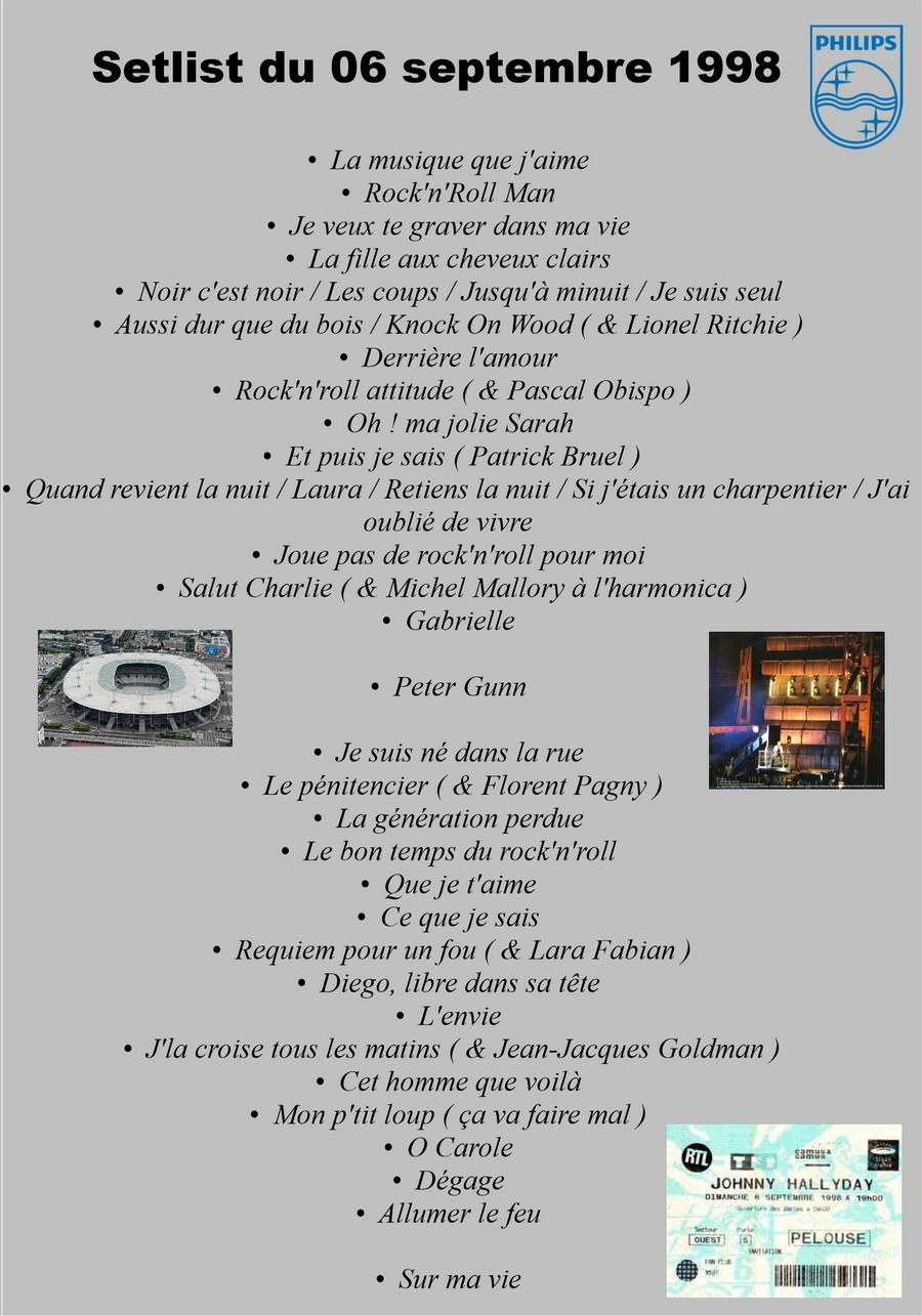 LES CONCERTS DE JOHNNY 'STADE DE FRANCE, SAINT-DENIS 1998' Setlis88