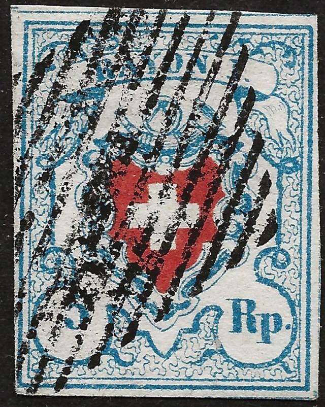 SBK 17II (Mi 9II) Rayon I, hellblau ohne Kreuzeinfassung 20180211