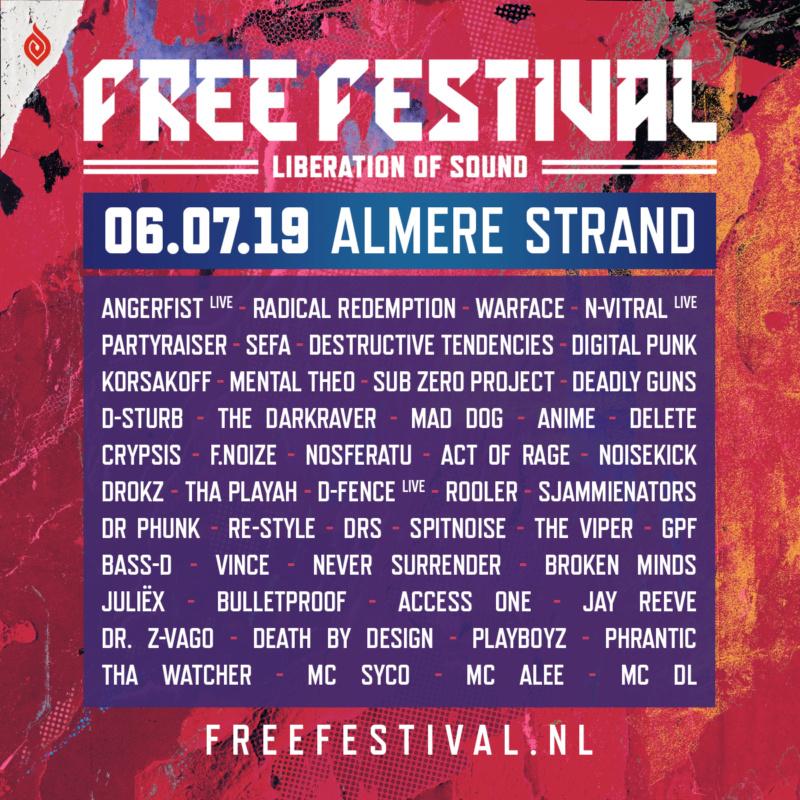 Free Festival - 6 Juillet 2019 - Almere Strand - NL Lineup11