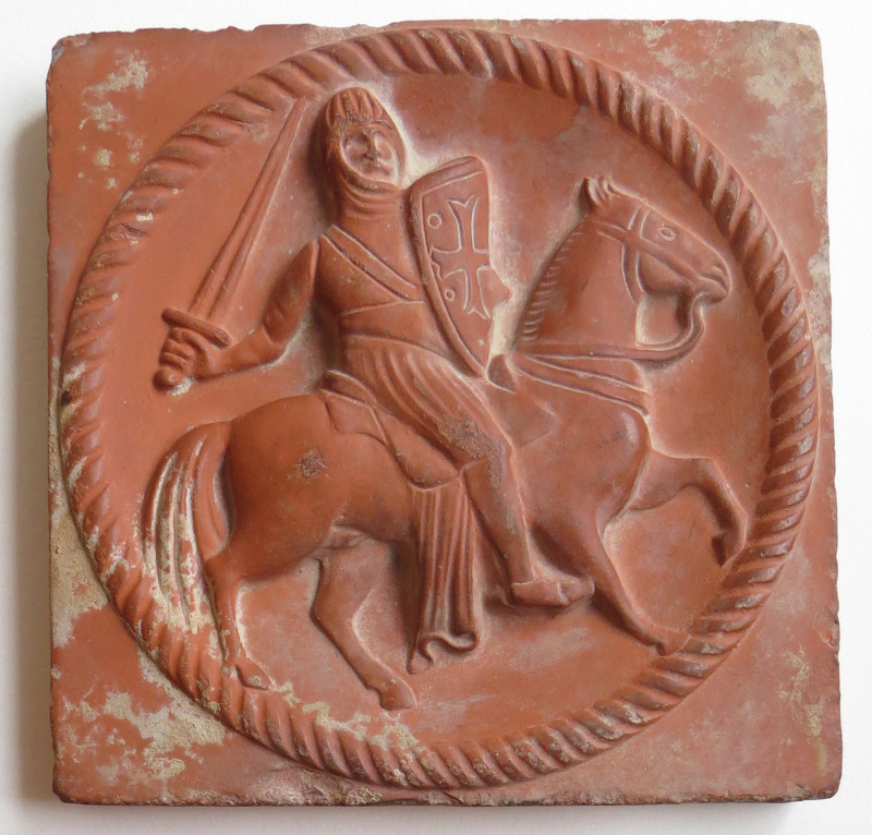 Templar Knight bas-relief clay tile backstamp! - The Cadinen / Kadyny, Mai Templa11
