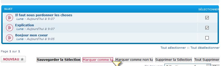 Messagerie privée : nouvelle option « Marquer comme lu / non lu » Marque10