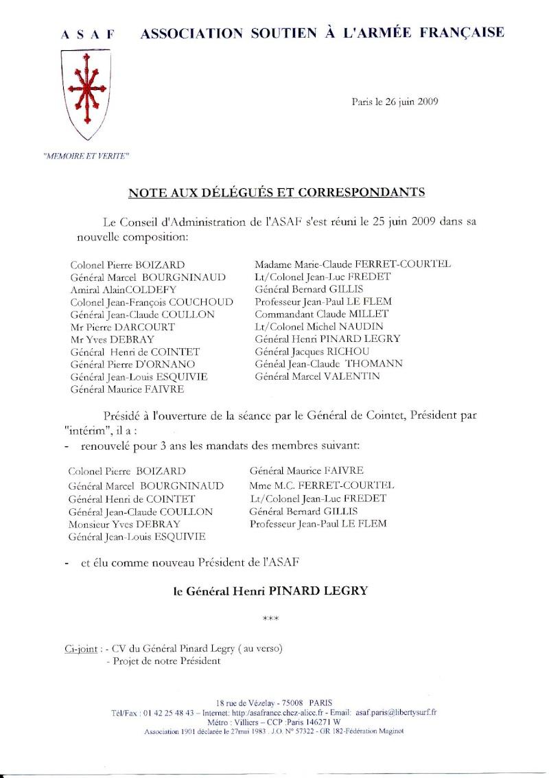 Conseil d'Administration du 25 juin 2009 nommination général Henri Pinard Legry Consei10