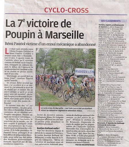 Articles de la Marseillaise et de la Provence du 22ème cyclo-Cross Marseillais 00110