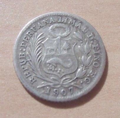 1/2 Dinero. Peru. 1907. Lima Per_0010