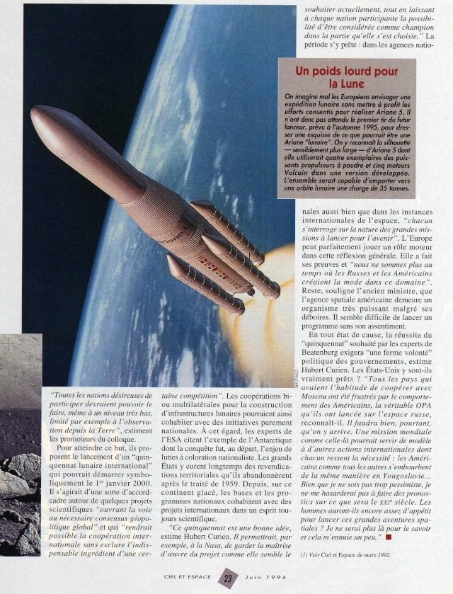 Utilisation d'Ariane 5 pour livrer du matériel sur la lune Ariane11